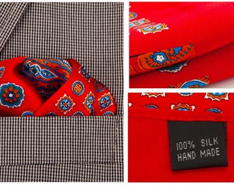 Silk Pocket Square / Pocket Handkerchief / Red Handkerchief / Mens Handkerchiefs Men Hanky / Silk Handkerchief
