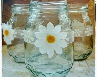 Decorated Wedding Jars | Decorated Jars, Wedding Jars, Mason Jars, Decorated Glass Jars, Vintage Wedding Decorations, Rustic Wedding, Daisy
