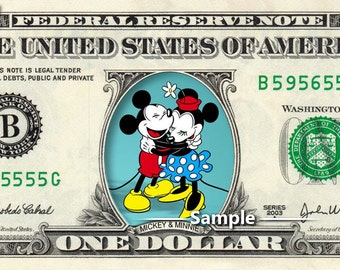 Mickey and Minnie Mouse on a Real Money - Disney Handmade Custom Dollar Bill Art
