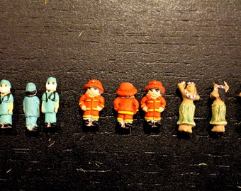 Terrarium Supplies-Miniature People-Tiny Dogs-Pug-Dachshund-Scotty Dog-Doctor-Surgeon-Fireman-Hula Girl