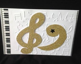 Piano and Music Clef card - Glitterati