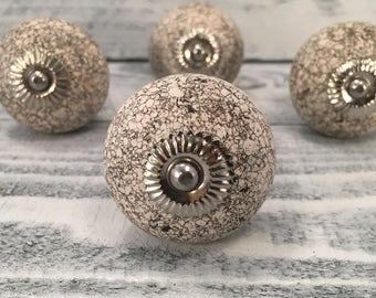 Knobs, Black & White Knob Stone Design, Tomato Ceramic Knobs, Drawer Pulls, Dresser Drawer Cabinets Home Improvement, Item #508684252