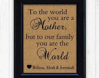 Gift for Mom,Mother Gift, FRAMED Burlap Print , Mom Gift, Mom Birthday Gift, Mothers day gift,Mother from Son, Mom from Daughter