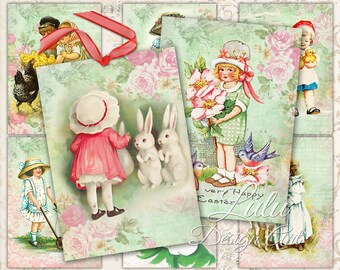 """Printable Easter Cards : """" Easter Children """" digital Easter cards, Easter tags, printable gift cards, vintage Easter images, digital paper"""