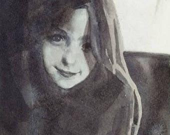 Black & White Watercolor Sketch, Custom Watercolor Sketch