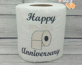 Happy Paper Anniversary embroidered novelty toilet paper, first 1st anniversary, funny joke gag gift,  bathroom decorations, valentines day