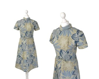 Blue And Gold 60's Dress | 1960's Vintage Dress | Metallic Floral Dress | Short Sleeves | Stand Up Neck | A-Line Skirt