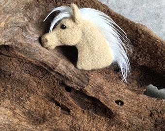 Needle felted Palomino horse pin brooch