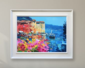 Seascape Wall Art Portofino Painting Italy Art Seascape Paintings Italy Wall Art Seascape Canvas Art Italy Women Gifts by Agostino Veroni