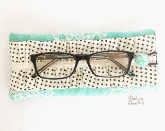 Turquoise Floral & Black/Cream Dot soft sunglasses case, glasses pouch, ruffled glasses case, ladies ruffled sunnies, padded glasses case