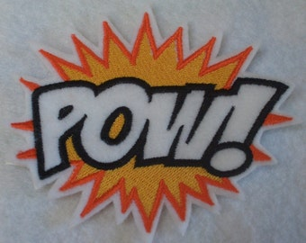 POW super hero embroidered iron on patch