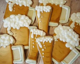 Beer, Beer Mug Decorated Sugar Cookies