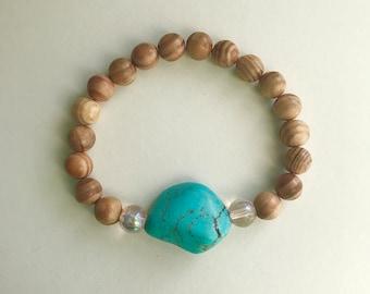 Turquoise Bracelet - wood beaded bracelet, turquoise, pink, boho, stackable - 1 piece
