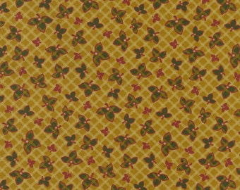 Thimbleberries - Lodge & Lakeside Tan Grid with Leaves Fabric