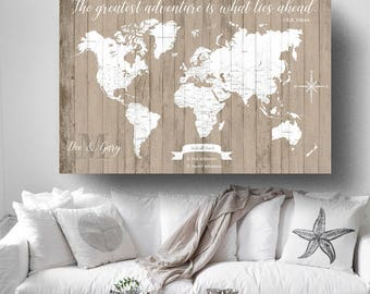 Push pin map etsy personalized push pin map detailed world map travel map document your travels map gumiabroncs Image collections