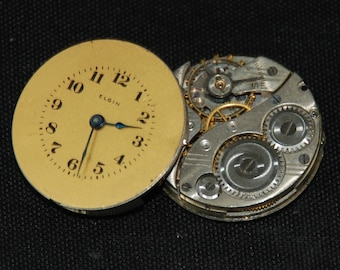 Gorgeous Vintage Antique Elgin Watch Pocket Watch Movements with dials faces Steampunk Altered Art Assemblage Industrial RB 46