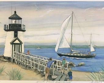 Brant Point Lighthouse, Nantucket art/ lighthouse art, matted American art
