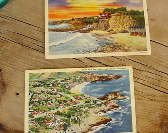 Vintage Postcards, 1940's Laguna Beach California, Three Arch Bay, Boat Cove, Unused Linen Postcards, Curteich, Beach Decor, Ephemera
