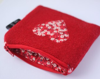 Harris Tweed Red Coin Purse, Liberty Mitsi Valeria Fabric, #valentinesgifts, #giftideas, #GiftGuide, #giftsforher, #gifts, HandyMandy Purses
