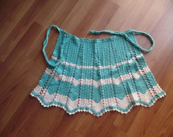 Handmade crocheted vintage Apron Turquoise and White