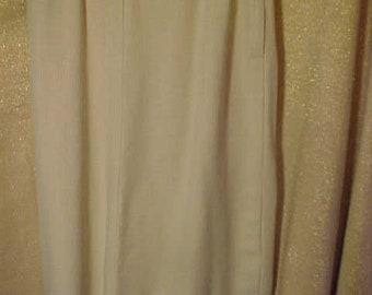 "Vintage  CremGabardine  50s Skirt, Kick Pleat in back,   28"" Waist     #3604"