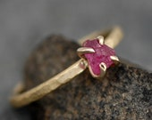 Rough Ruby on 18k Recycled Yellow Gold Hammered Narrow Band- Ready to Ship Size 5 ring