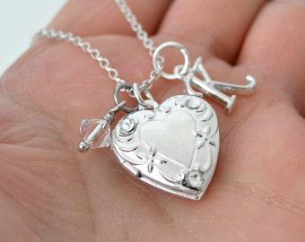 April Birthday Locket, Little Girl Locket, April Birthstone, Crystal Locket Necklace, Girls Locket,  Initial Necklace, Silver Heart Locket