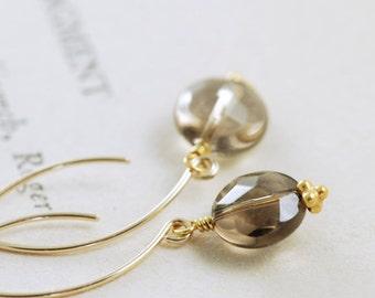 Mocha Brown Gemstone Earrings, Gold Dangle Earrings, Smoky Quartz