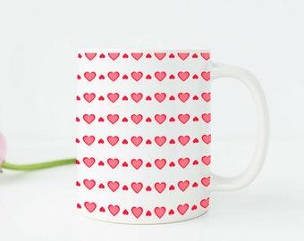 Unique Coffee Mug Cute Mug Coffee Cup Coffee Mugs Handmade Coffee Mugs for Her Heart Mug Pink Mug Pink Cups Ceramic Coffee Mug Tea Mug v811