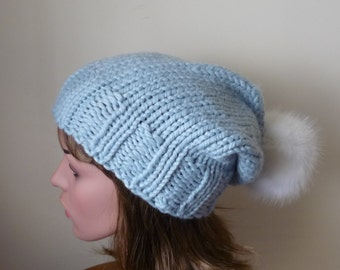 Knit Slouch Hat Faux Fur Pompom Warm Wool Blend Winter Hat in Glacier Blue  with White Pompom - Ready to Ship - Gift for Her