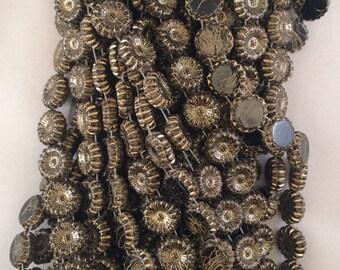 2-Hole Sunflower Beads, 12mm, Jet-Gold Inlay, 278-12-2398GL, 25 Beads, Czech Glass