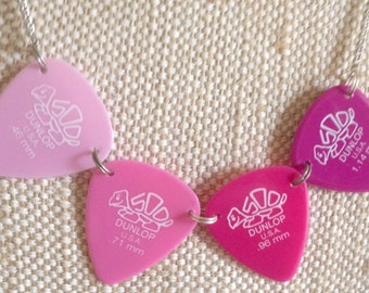 CLEARANCE! guitar pick / plectrum /bunting necklace in pink shades