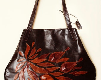 Dark brown Leather handbag Tote Bag Embroidery Shopper Italian bag Gift for her leather flowers birthday gift Patchwork Accessories Evening