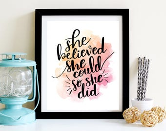 She Believed She Could So She Did Hand Lettering Poster Print Wall Art Decor