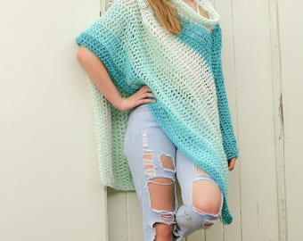 Long Crochet Poncho for adults – Teal Poncho – Unisex Poncho - Cowl Neck