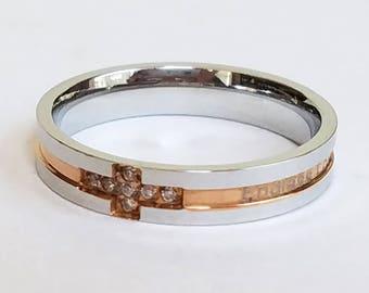 Womens Ring, Cross Ring, Custom Ring, Personalized Ring, Titanium Ring