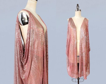 RARE!! 1920s PINK Assuit Jacket / Antique 20s Hammered Metal Sleeveless Evening Jacket / Geometric Shapes / Egyptian Revival