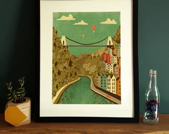 Bristol Clifton Suspension Bridge Illustration Poster A3
