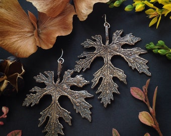 Bronze Wild Grape Leaf Earrings - Larger version - Handmade in Austin, Tx - Plant Jewelry - Statement Earrings - made by Jamie Spinello