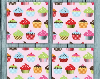 cupcake Coaster Images, cupcake coasters, cupcake decor, cupcake home decor, home decor, cupcake digital paper, cupcake, diy coasters,