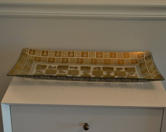 Vintage Jena Molle Gold Painted Glass Tray