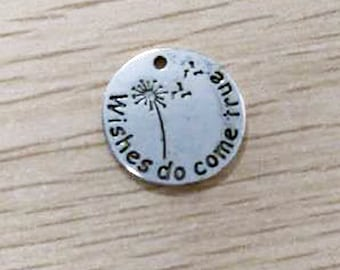 Quote Charms Antiqued Silver Word Charms Wishes Do Come True Dandelion Charms Circle Charms Stamped 4 pieces