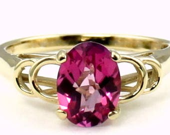 Pure Pink Topaz, 14KY Gold Ring, R300