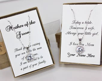 Mother of the Groom Gift Mother of the Bride Gift Cubic Zirconia Sterling Silver Round Crystal Necklace Wedding Gift FREE Personalized Card!