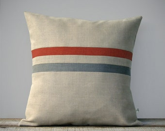 Decorative Pillow Cover | Burnt Orange and Grey Stripes by JillianReneDecor (16x16) Fall Home Decor - Natural Linen - FW2015
