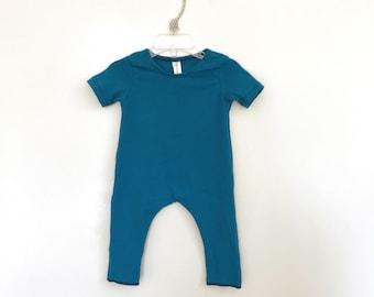 TEAL Romper | long sleeve romper, harem romper, baby onesie, solid romper