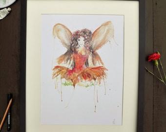 Watercolour Fairy Print A3
