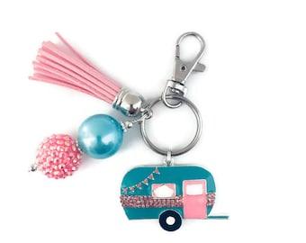 Camper Key Chain/Retro Camper Key Chain/Camper/Camping Key Chain/Glamping/Tassel Key Chain/Vintage Camper/Vintage Caravan
