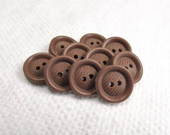 "Squareish Rounds: 1/2"" (13mm) Cocoa Brown Buttons - Set of 10 Vintage New Old Stock Matching Buttons"