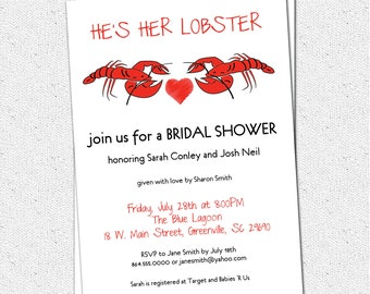 Bridal Couples Shower, Wedding Invitations Printable, Lobster Couple, Boil, Bake, Friends. Ross and Rachel,  DIY Digital File